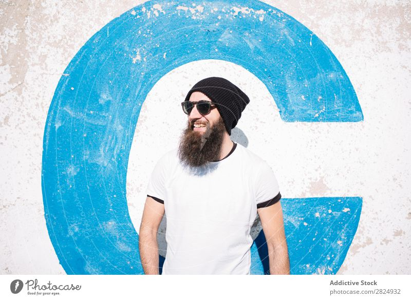guy with Beard on the street Dark Looking Guy Cute Human being Red Posture Beauty Photography Smiling Strange Model Face Hip & trendy Alternative outfit