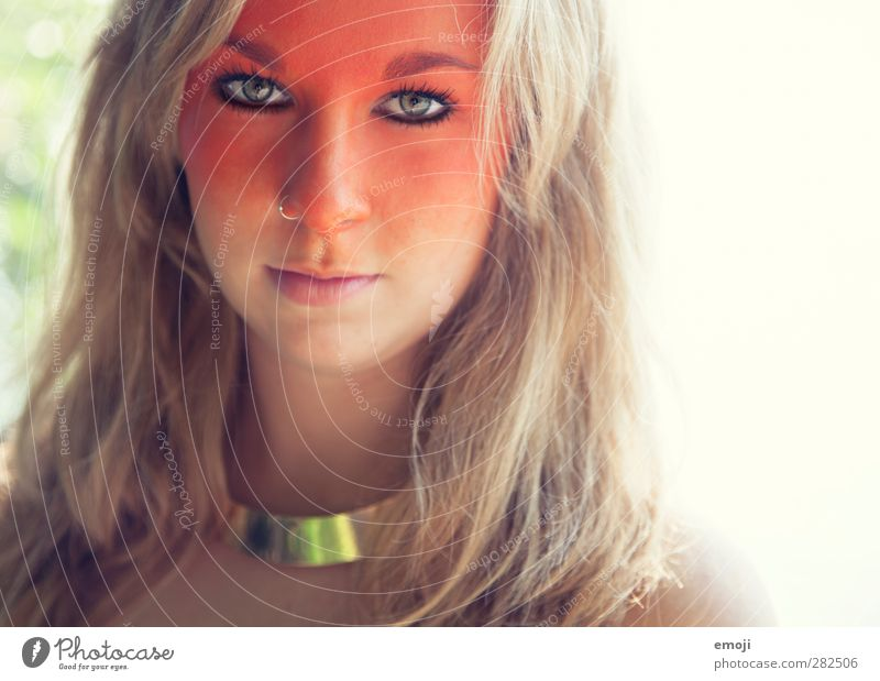 O Feminine Young woman Youth (Young adults) Face 1 Human being 18 - 30 years Adults Blonde Uniqueness Orange Bodypainting Make-up Stage make-up Colour photo