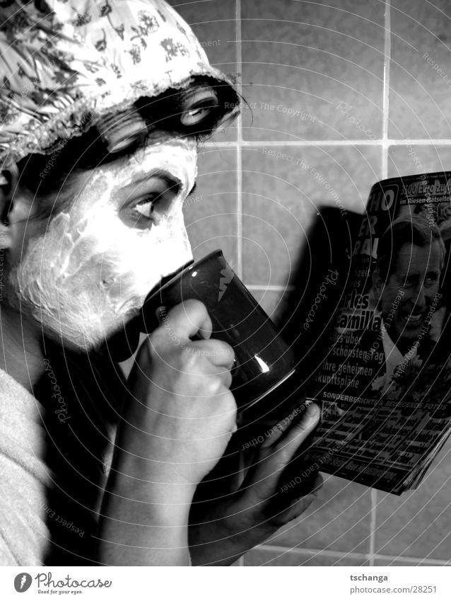 housewife_two Housewife To talk Skimmed milk Hair curlers Bathroom Curiosity Surprise Bathrobe Woman Drinking Coffee charles kamilla Mask Beautiful Shower cap