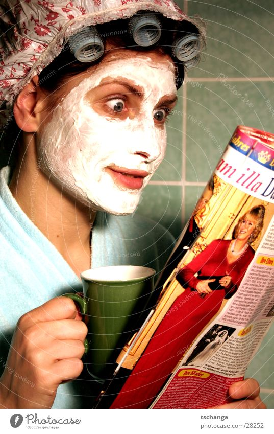 housewife_one Housewife To talk Skimmed milk Hair curlers Bathroom Curiosity Surprise Bathrobe Woman Drinking Coffee charles kamilla Mask Beautiful Shower cap