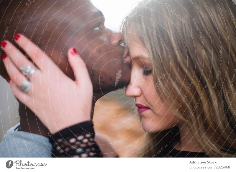 Deep connection between two young people of different races. Int diverse Romance 20s pretty American loveliness Relationship Face Body Youth (Young adults)