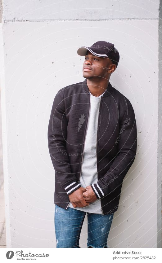 Portrait of male African American Expression fashionable Fashion attire Human being Youth (Young adults) Modern Isolated Easygoing Self-confident