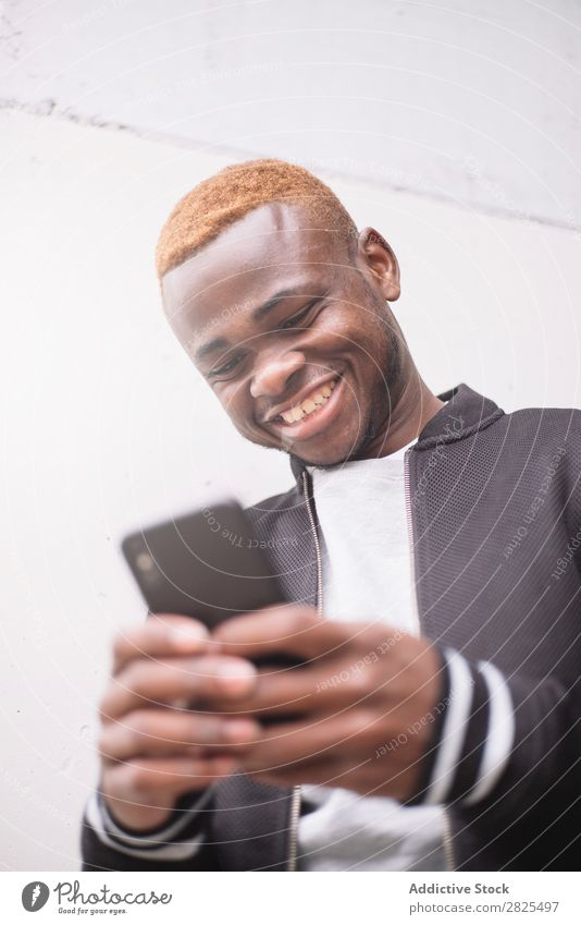 African american man making himself selfie portrait of smart pho Man Mobile Camera Telephone Smart Joy Take Human being PDA Youth (Young adults) Photography