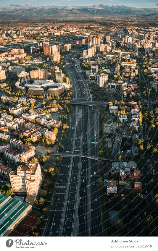 Aerial shot of Madrid city high road Skyline Modern Highway Town City Street Architecture megapolis metropolitan Aircraft Landscape Construction Transport