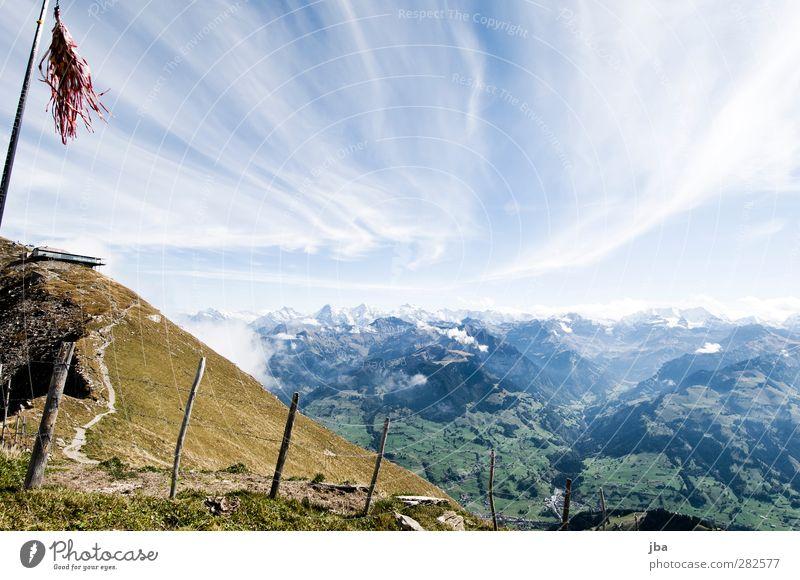 Bernese Alps Life Tourism Trip Freedom Summer Mountain Hiking Nature Landscape Elements Air Clouds Autumn Beautiful weather Wind Rock Mount Niesen Blüemlisalp