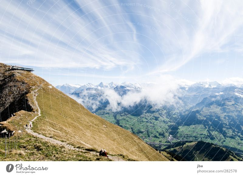 Bernese Alps 2 Life Tourism Trip Far-off places Summer Mountain Hiking Nature Landscape Elements Air Clouds Autumn Beautiful weather Wind Rock Blüemlisalp
