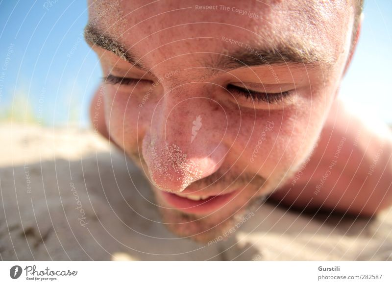 Human being Youth (Young adults) Vacation & Travel Summer Sun Joy Beach Adults Face Playing Laughter Sand Young man Funny 18 - 30 years Masculine