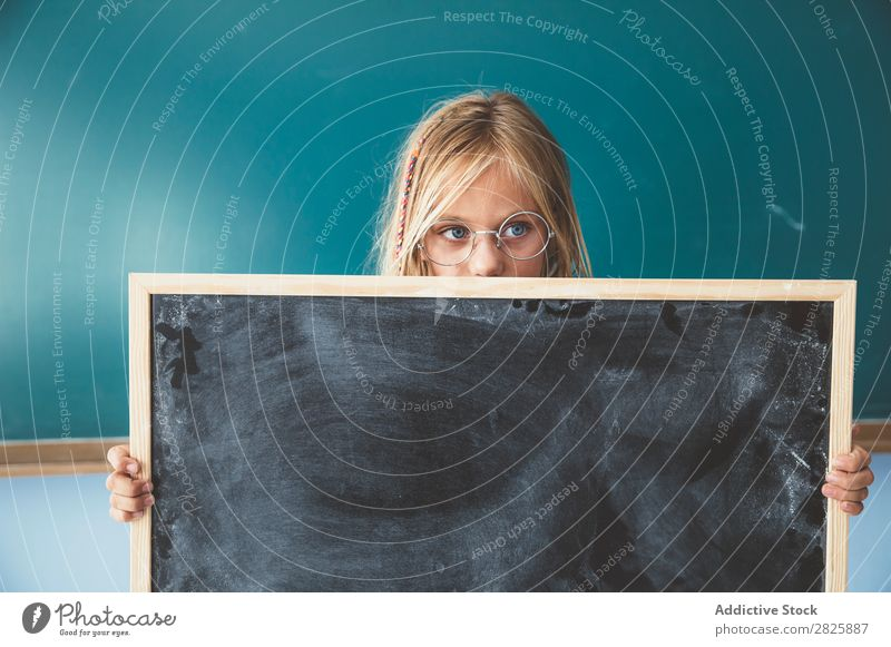 Girl holding blackboard in classroom Classroom Blackboard Stand Hold Cute Education School