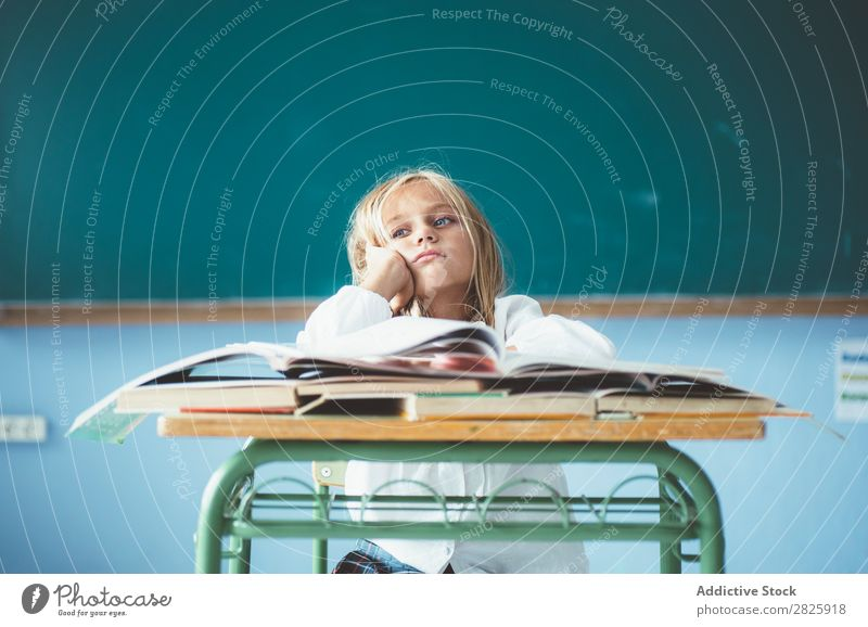 Bored girl in classroom Girl Classroom Blackboard Sit Desk Dull Dream Cute