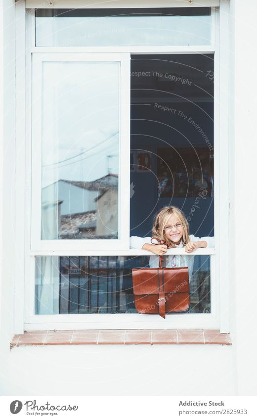 Schoolgirl posing with backpack in a window Girl Classroom Window Posture Stand Cute Education