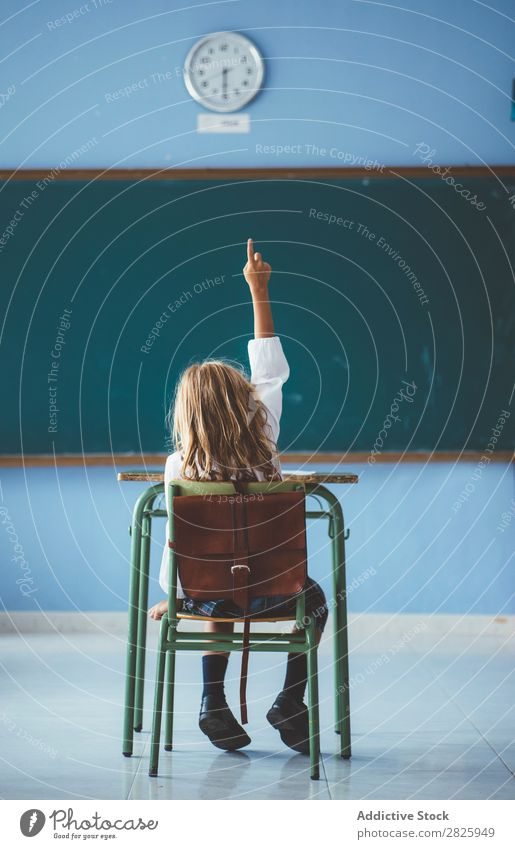Smiling girl with pencil in class Girl Classroom Blackboard Sit Pencil Happy Cheerful hand up Cute Education School Grade (school level) Student