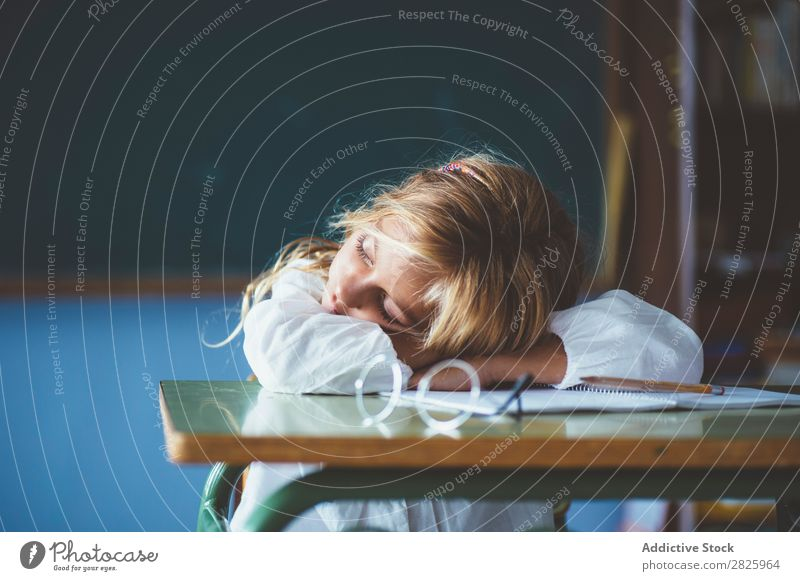 Pupil girl sleeping in classroom Girl Classroom Sleep Desk Fatigue Rest Break Relaxation