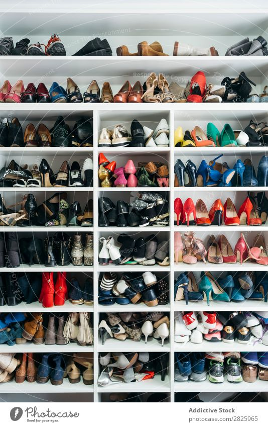 Shelves with different shoes Rack Cupboard Footwear shelf Fashion Storage Style Closet Clothing Home Deserted Room Collection Elegant Modern choice Box outfit