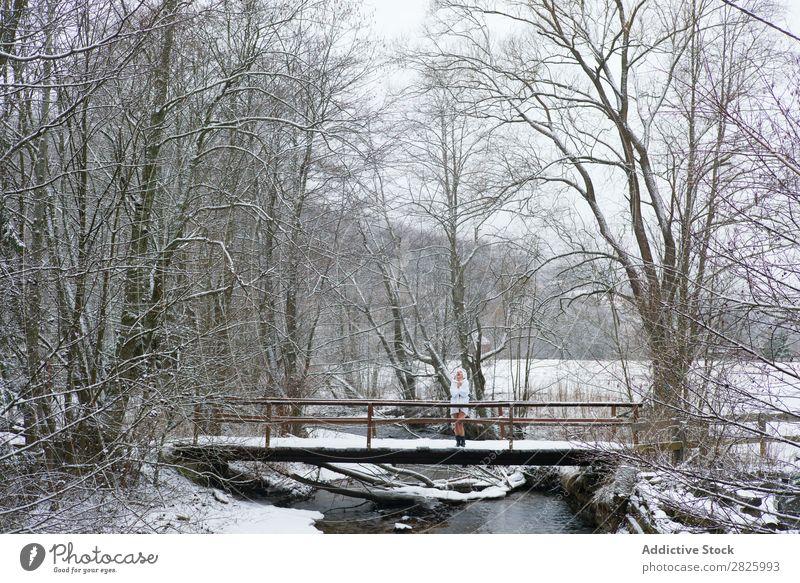 Woman in bathrobe on bridge Nature Winter Forest Stand Bridge Bathrobe Healthy