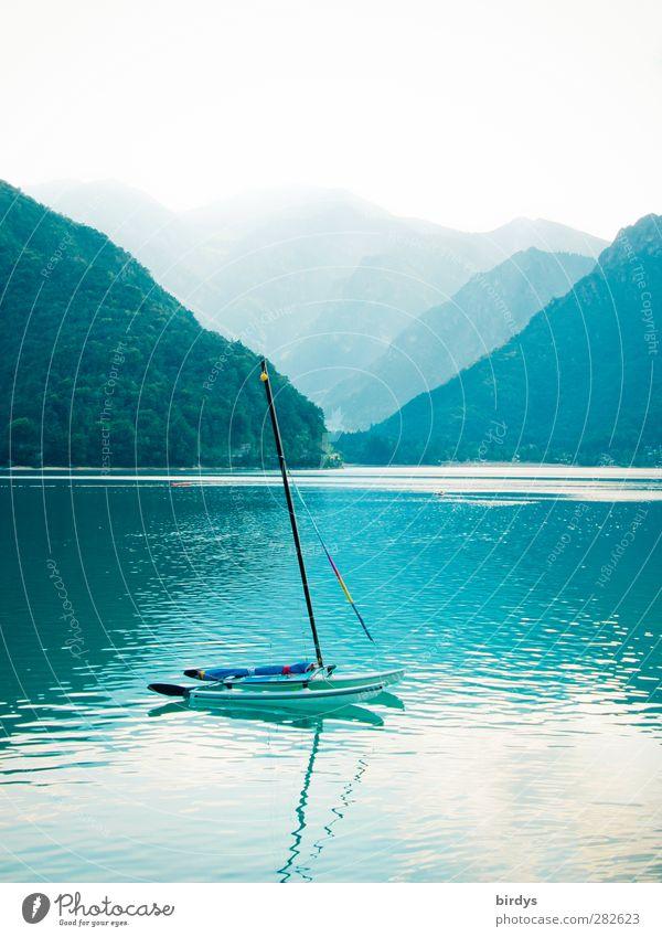 Into the blue Vacation & Travel Summer Sailing Aquatics Nature Water Fog Forest Mountain Canyon Lake Lago di Ledro Sailboat Catamaran Esthetic Positive