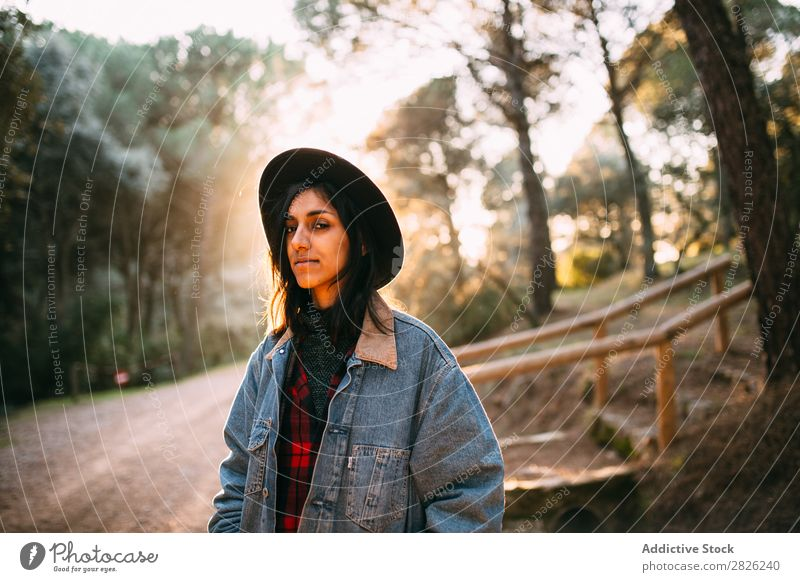 Indian woman in a countryside road Woman Tourist Forest Portrait photograph Street Autumn Rural Nature Relaxation Silent Youth (Young adults) pretty Cheerful