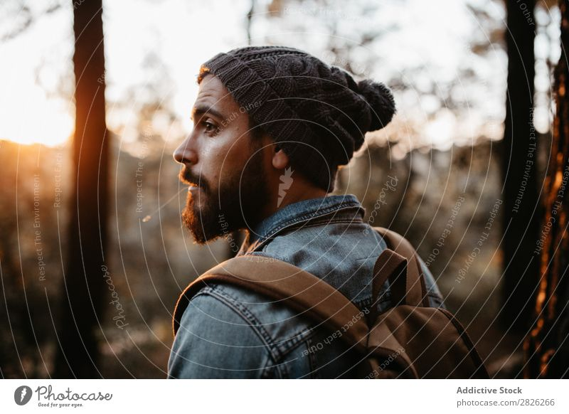 Man looking back in autumn forest Tourist Forest Backpack Autumn Tourism Vacation & Travel Adventure Youth (Young adults) Trip backpacker traveler Rural Nature