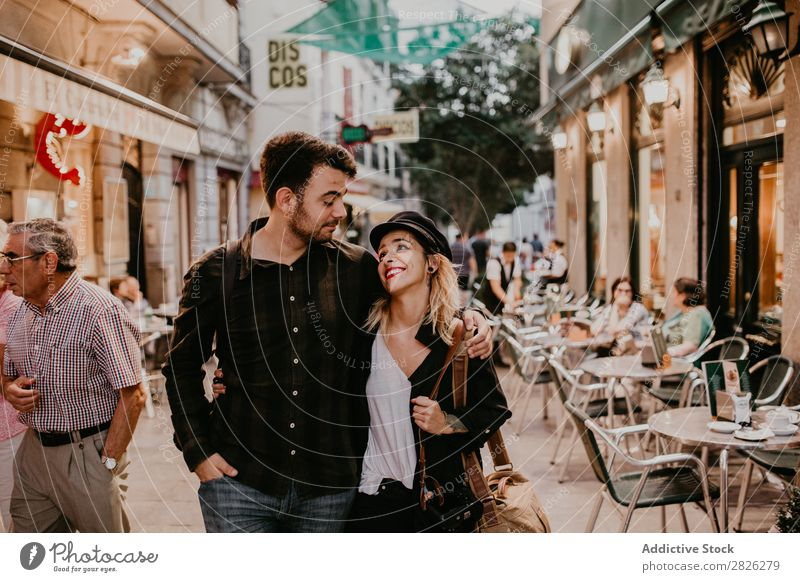 Happy couple walking on street Couple Street Walking Café City Youth (Young adults) Love Human being Lifestyle Woman Man Romance Together Smiling Relationship