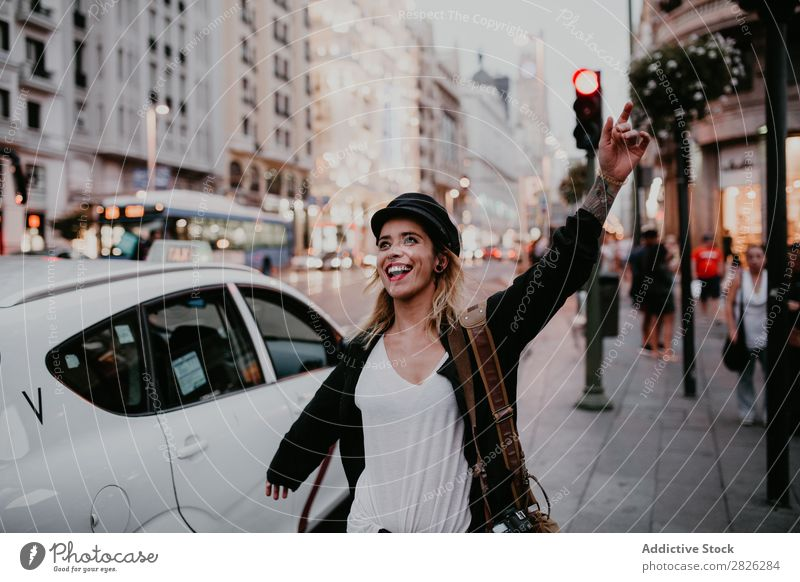 Happy girl posing on the street Woman Taxi Street City Youth (Young adults) Lifestyle Vacation & Travel