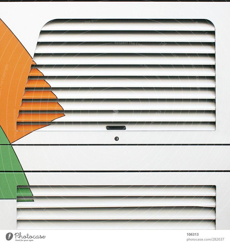 † Metal Line Green Orange Slit Flap Ventilation Parallel Graphic Convertible roof Vent slot Storage Structures and shapes Colour Colour photo Exterior shot