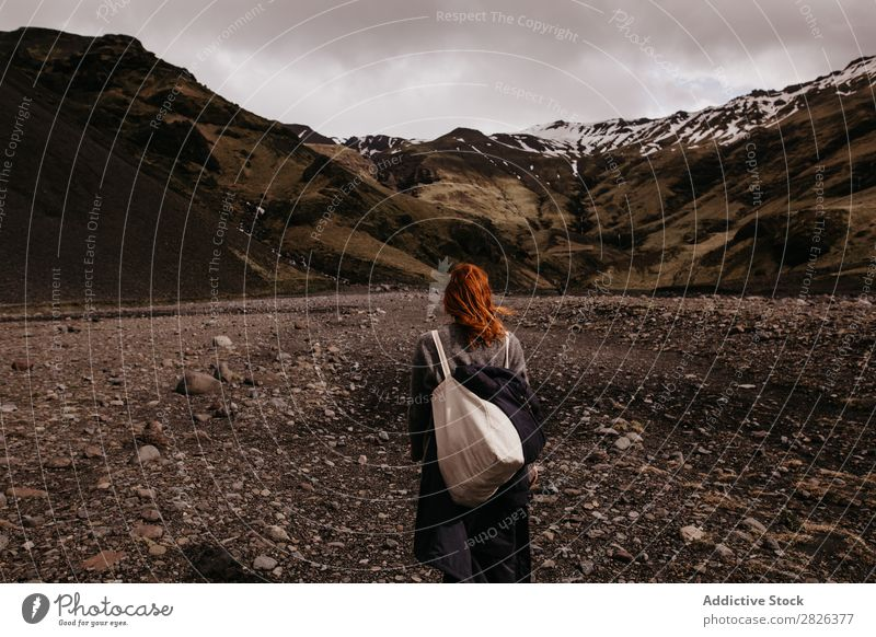 Woman posing on background of mountains Mountain Iceland Nature Vacation & Travel Landscape Tourism Lanes & trails Volcanic Adventure scenery North Backpack