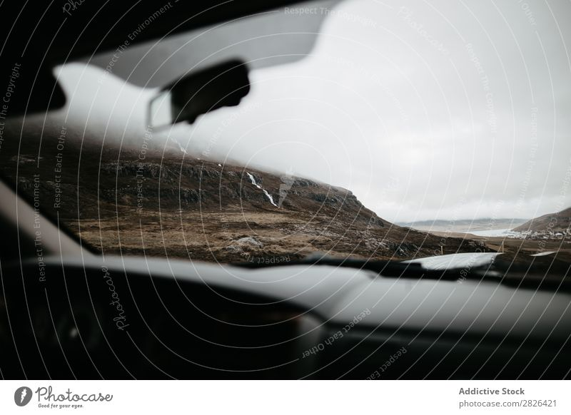 Shot from car of mountains Car Mountain Iceland Street Landscape Nature Transport Vacation & Travel Tourism scenery through glass North Rock Natural Adventure