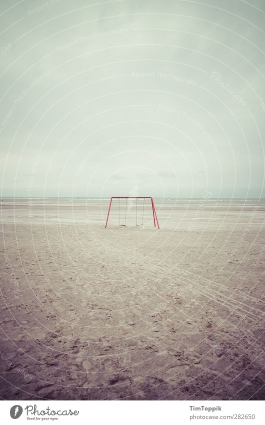 This used to be my playground Ocean Gloomy Sadness Swing Beach Langeoog Childhood memory Loneliness Deserted Remember Infancy Children's game Sentimental Island