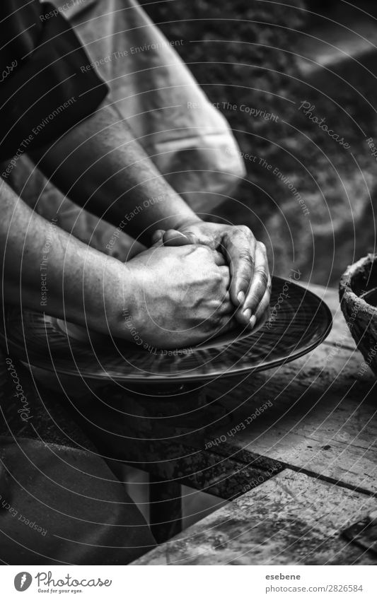 Hands of a potter shaping clay Bowl Pot Handicraft Child Work and employment Craft (trade) Human being Woman Adults Fingers Art Culture Touch Make Dirty Wet