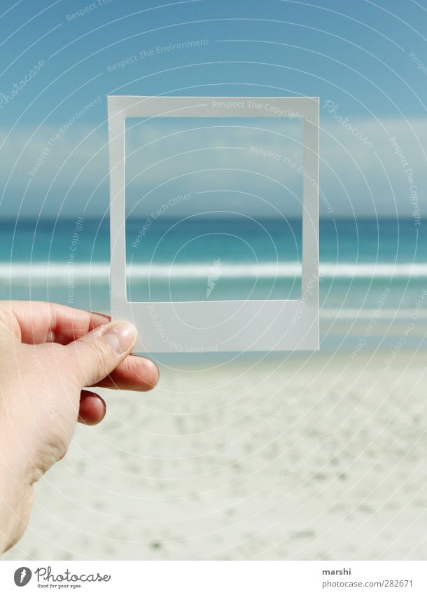 holiday greetings Landscape Elements Sand Water Sky Spring Summer Weather Beautiful weather Waves Beach Bay Ocean Blue Polaroid Frame Memory Photography Hand