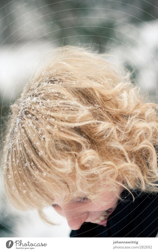 Good day Feminine Youth (Young adults) Life 1 Human being 18 - 30 years Adults Beautiful Joy Happy Trust Snowflake Laughter Scarf Black White Contrast Blonde