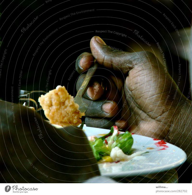 black hand at dinner Vegetable Cauliflower Salad Nutrition Eating Lunch Vegetarian diet Plate Fork Healthy Eating Hand Delicious Black White Swarthy Africans