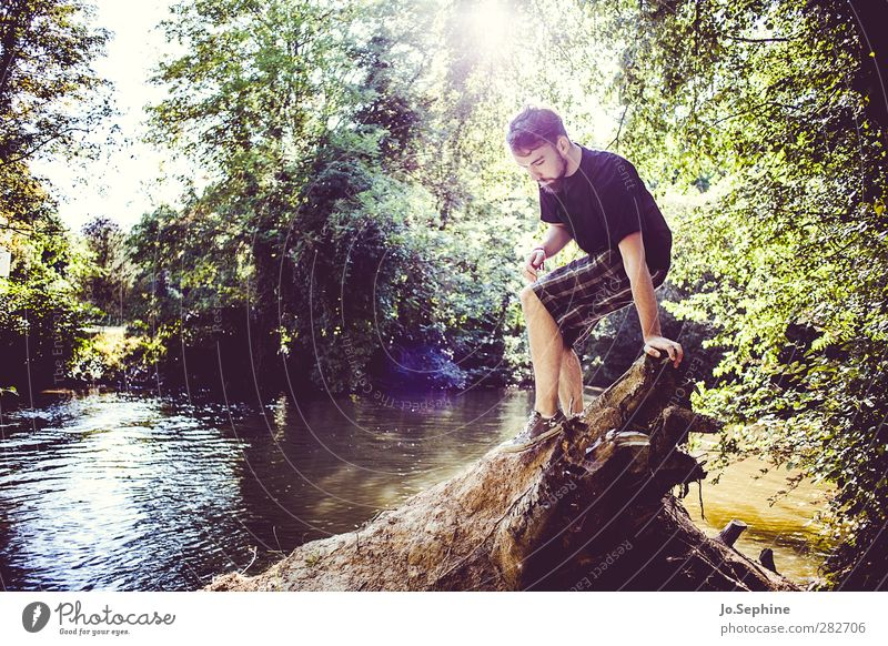 glory days to come Lifestyle Joy Human being Masculine Young man Youth (Young adults) 1 18 - 30 years Adults Environment Nature Summer Root River bank Shorts