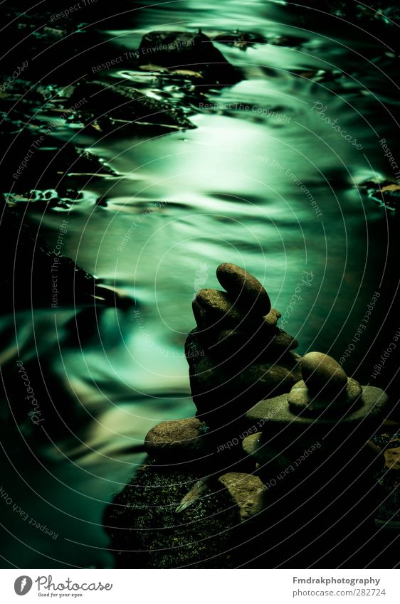 flow of time Environment Nature Water Moss Brook River Stone Moody Calm Wisdom Inspiration Cold Creativity Long exposure Experimental Clock Colour photo
