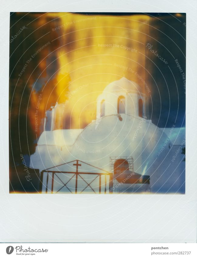 Polaroid shows white church in Greece on santorini Church Belief Religion and faith Christian cross Blue White built Window Colour photo
