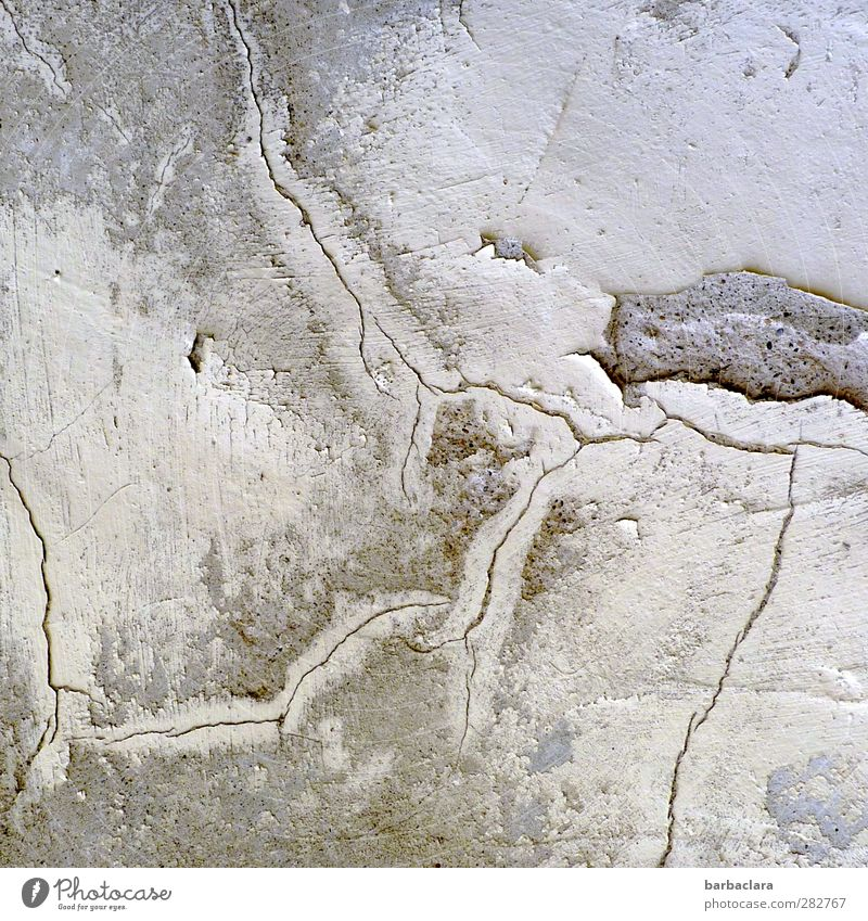 Things used to be better, traces of time. Building Monastery Wall (barrier) Wall (building) Facade Crack & Rip & Tear Stone Line Tracks Old Bright Gray White
