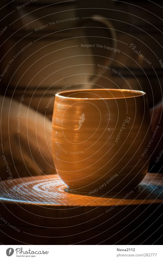 Everything used to be better handcrafted. Craft (trade) Warmth Brown Pottery Potter's wheel Do pottery Cup Former Handcrafts Rotate Clay pot Earth Colour photo
