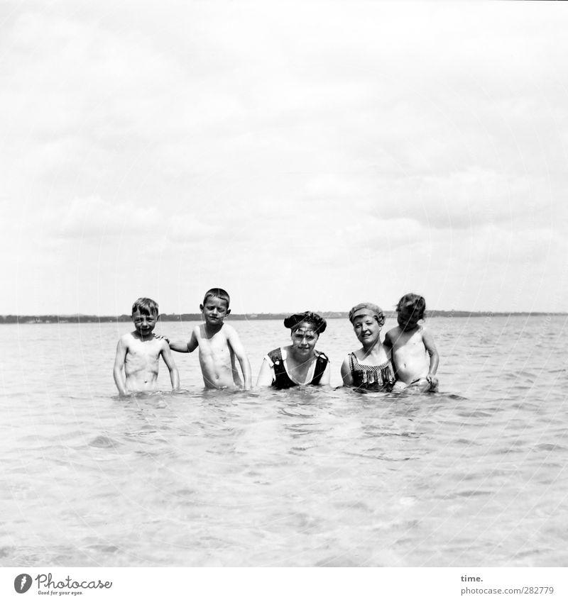 Human being Sky Water Vacation & Travel Summer Joy Coast Bright Horizon Swimming & Bathing Leisure and hobbies Wet Beautiful weather Posture Hot