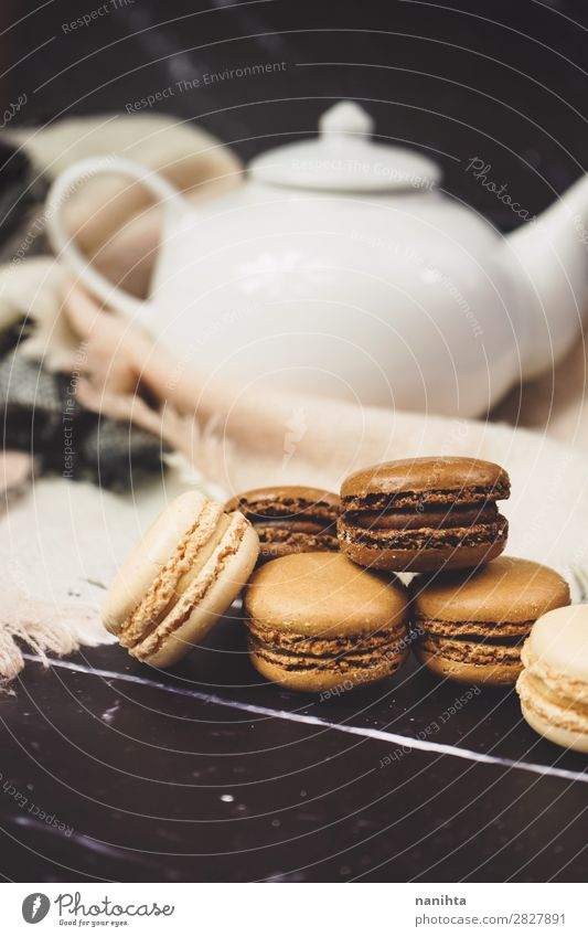 Chocolate, coffee and vanila macarons Cake Dessert Candy Breakfast To have a coffee Beverage Hot drink Coffee Tea Elegant Style Dark Fresh Delicious Sweet Brown