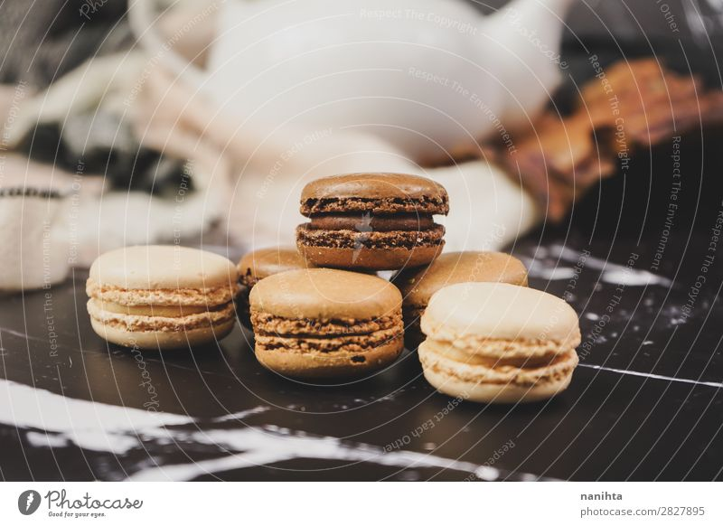 Chocolate, coffee and vanila macarons Food Cake Dessert Candy Nutrition Breakfast To have a coffee Coffee Tea Elegant Style Authentic Fresh Delicious Sweet