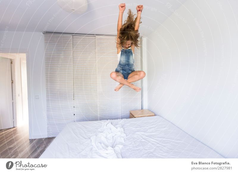 beautiful kid girl playing and jumping on bed Child Human being Summer Beautiful White Joy Girl Lifestyle Adults Love Feminine Family & Relations Happy Playing