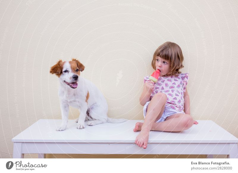Beautiful kid girl eating a watermelon ice cream Child Human being Vacation & Travel Nature Dog Summer Green White Red House (Residential Structure) Joy Girl