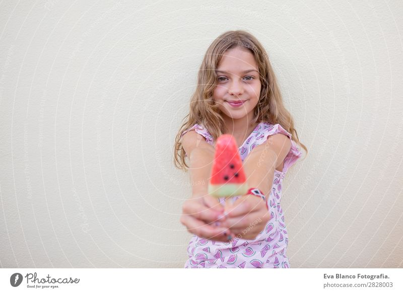 Beautiful kid girl eating ice cream watermelon Fruit Ice cream Eating Joy Happy Vacation & Travel Summer House (Residential Structure) Garden Child Human being
