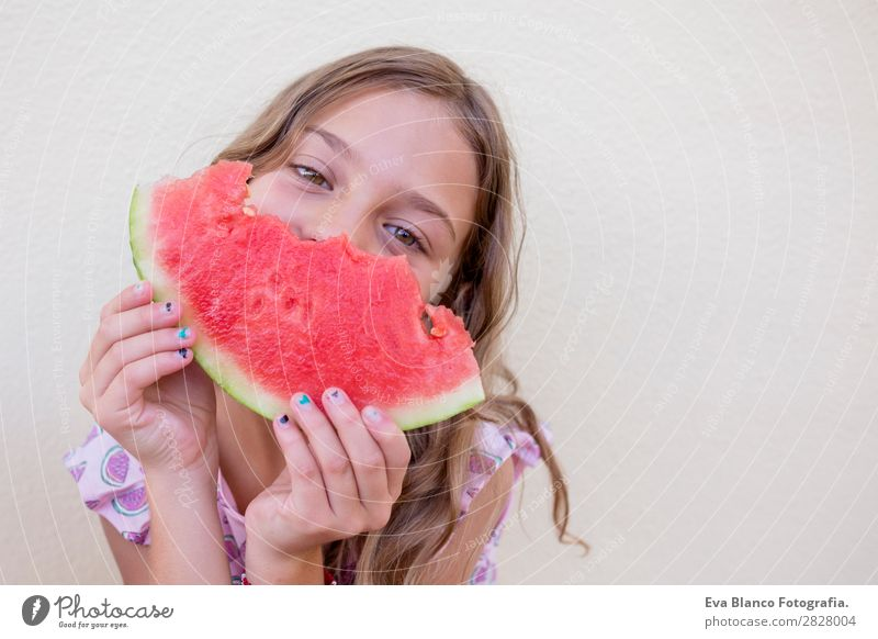 Beautiful kid girl eating watermelon Child Human being Vacation & Travel Nature Summer Green White Red House (Residential Structure) Joy Girl Eating Eyes Love