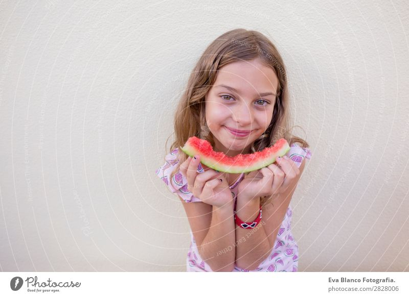 Beautiful kid girl eating watermelon Child Human being Vacation & Travel Nature Summer Green White Red House (Residential Structure) Joy Girl Eating Love Funny