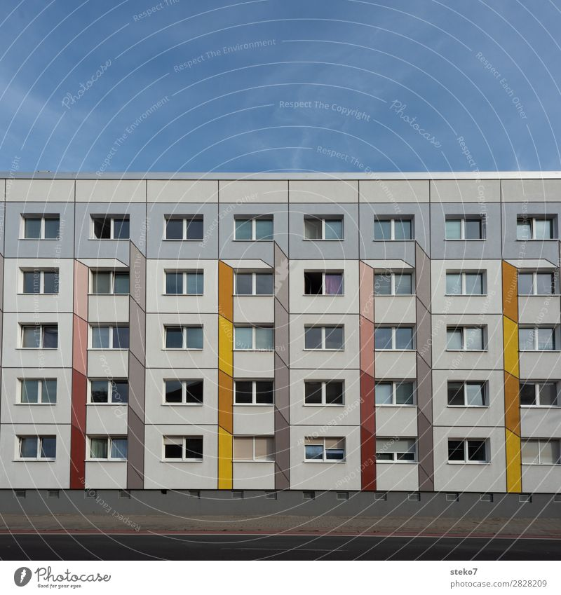 prefabricated building facade House (Residential Structure) High-rise Facade Window Cliche Gloomy Town Yellow Gray Orange Equal Boredom Symmetry