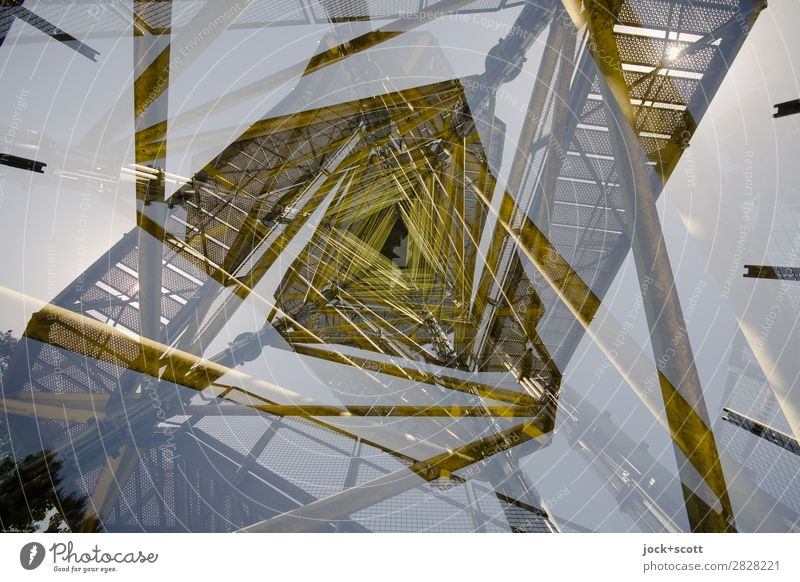 a turret duplicate Tower Architecture Metal Line Fantastic Tall Complex Surrealism Double exposure Metal post Insight Illusion Reaction Experimental Abstract