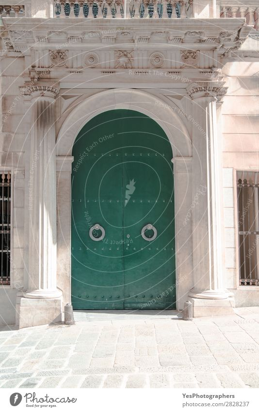 Arched ancient door on the streets of Genova Style Tourism City trip Culture Town Building Architecture Facade Door Monument Old Historic Retro Green Safety