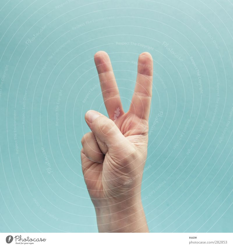 rabbit's foot Skin Arm Hand Fingers Sign Communicate Cool (slang) Simple Bright Hip & trendy Freedom Peace Forefinger Light blue Gesture European Sign language