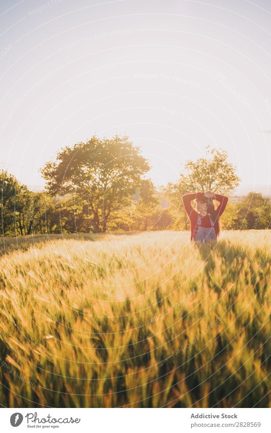 Woman walking on field Field Walking To enjoy Evening Nature Beautiful Girl Beauty Photography Youth (Young adults) Grass Meadow Freedom Happiness Sun Autumn