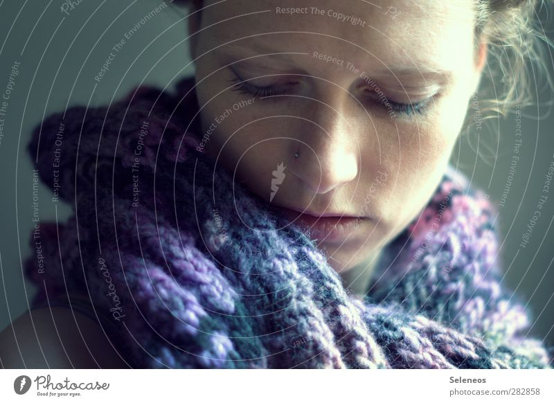 good for sore throat Human being Feminine Woman Adults Face 1 Clothing Scarf Dream Near Illness Sore throat Common cold Curl Colour photo Interior shot Close-up